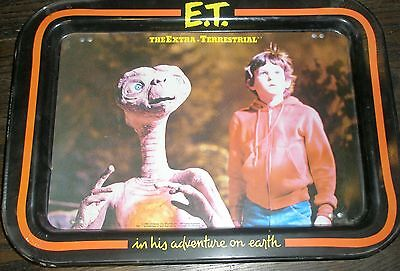 Vintage 80's E.T. Extra Terrestrial Movie Metal TV Tin Bed Food Tray figure