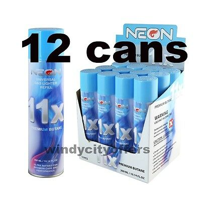 12 cans Neon 11x Filtered Butane Ultra Premium Refined Refill Lighter Cans 300mL