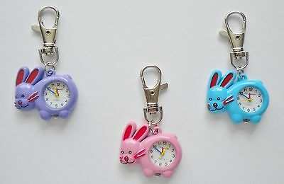 Ladies/girls/nurses Bunny Rabbit/hare Keyring/key Chain Pendant Pocket Fob Watch