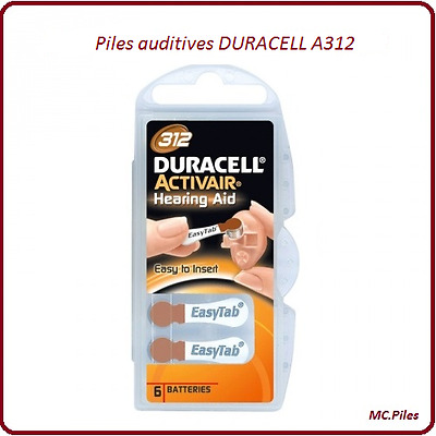 Lot piles boutons auditives Duracell appareils auditifs A312, de 1 à 60 piles