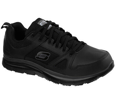 77040 Black Skechers shoes Work Men's Memory Foam Slip Resistant Leather Comfort