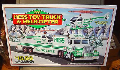 """HESS 1995  TOY TRUCK & HELICOPTER PUMP TOP ADVERTISING 18"""" x 12"""" RARE"""