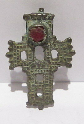 POST MEDIEVAL 'RELIQUARY' CROSS PENDANT SILVER-ALLOY c.12th-17th CENTURY # 466