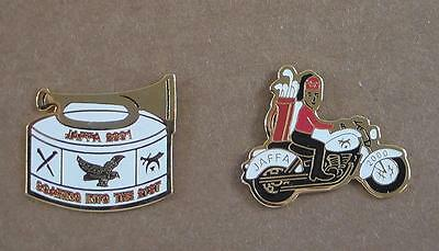 JAFFA Shrine Lapel or Hat Pins 2000 Motorcycle 2001 Soaring Into the Future