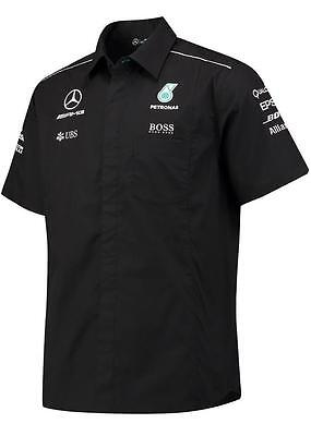 Oem Genuine Mercedes Benz Men's Amg F1 Petronas Black Button Up Team Shirt