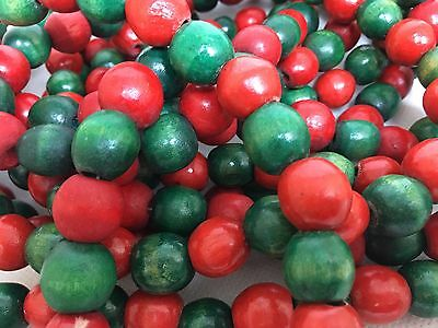Vintage Red and Green Wooden Bead Christmas Tree Garland