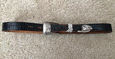 VTG 1940s / 1950s PENNEY'S LEATHER COWHIDE WESTERN BELT 28 DISTRESSED