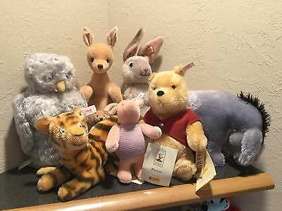 Huge Steiff Lot Of Winnie The Pooh Complete Set Of 7 Classic Mohair Le Most Tags