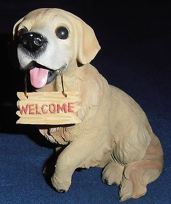 Golden Retriever Dog Welcome Sign Collectable Figurine Statue