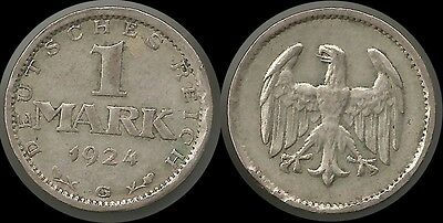 1 Mark 1924 G / Weimar / 22,9 mm / 4,7 Gramm