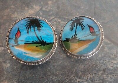 Stg. Silver Butterfly Wing Clip On Earrings - Caribbean Scene - Thomas L. Mott