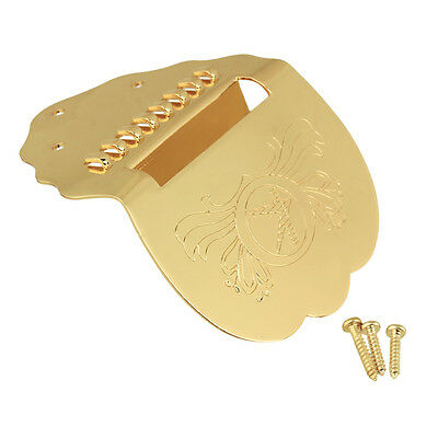 Gold 8 Strings Scalloped Mandolin Tailpiece with Screws – Engraved Design