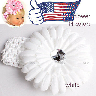 White Baby Headband Toddler Infant Hair Bow Band Accessories with Daisy Flower