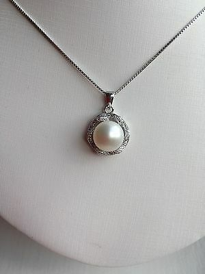 Sterling Silver 925 With Genuine Freshwater Gian Pearl Pendant Necklace