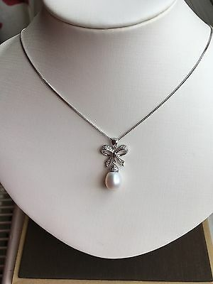 Sterling Silver 925 Butterfly Freshwater Pearl Pendant Necklace