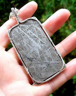 "GORGEOUS Huge SS Wire Wrapped Gibeon  Meteorite Namibia Pendant  24"" Chain"