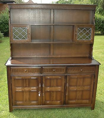 Priory Oak Welsh Dresser With 2 Glazed, 3 Drawers, 3 Cupboards , Nice Condition