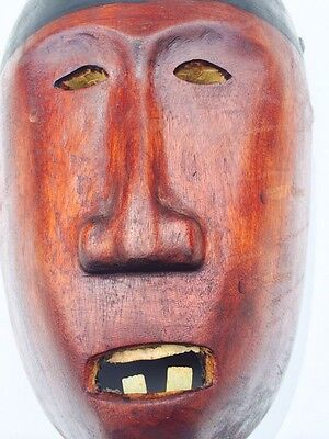 Guatemalan  Hand Carving Guatemala folks art  Wood Mask. Red Devil detailed
