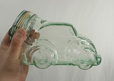 vintage VOLKSWAGEN MASON JAR - Made in Italy Beetle/VW/Bug Shaped hermetic/glass