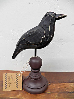Primitive Country Folk Art Wooden Crow on Turned Spindle Base