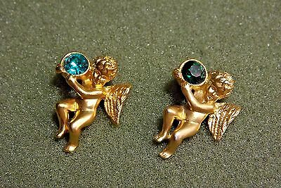 Angel Lapel Pin Lot (2) Signed Avon Green Emerald Colored Birthstone For May