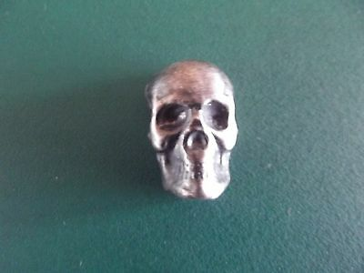 1 Troy Ounce, Yeager Poured Silver Skull with Patina,  .999 Fine Silver.