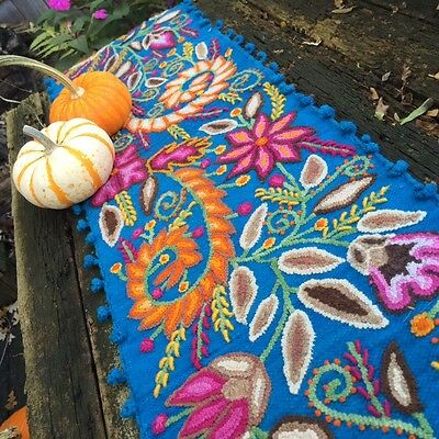 Hand Embroidered Peruvian Table Runner. Boho Tapestry.