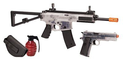 Crosman Commando Airsoft Spring Powered, Rifle and Pistol Kit, Clear/Black (NEW)