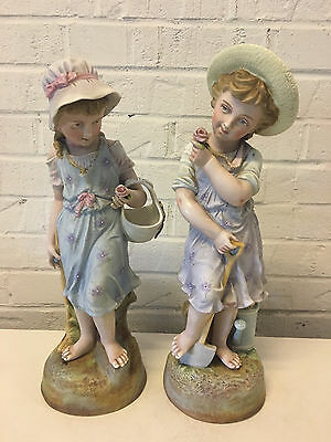 Vintage Antique German Dresden Area Bisque Porcelain Pair Large Figurines Girls