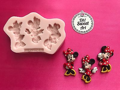 THREE MINNIE MOUSE DISNEY  Silicone Mold Food Cake Decoration toppers soap FDA
