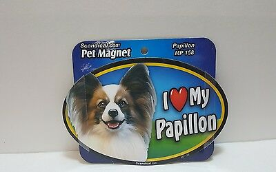 "Scandical I Love My PAPILLON  Dog Laminated Car Pet Magnet 4""x6"" MP 158"