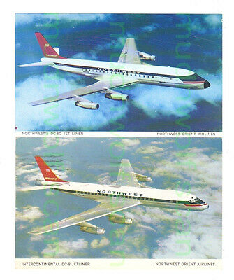 Two Northwest Dc-8 Company Issued Postcards