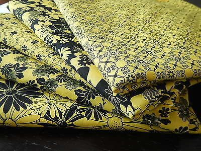2 1/2 Yards  Yellow and Black Bundle 100 % Cotton Fabric