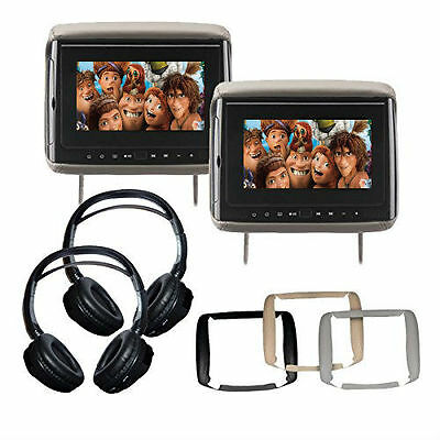"Two Concept BSD705 7"" LCD DVD Headrest Monitor w/ 3 Color Covers & 2 Headphones"