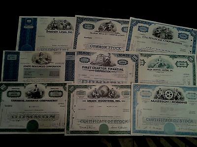 Lot Of 9 Stock Certificate Company All Diff