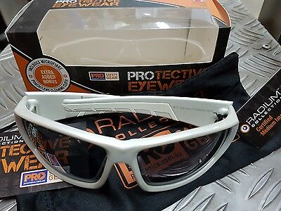 Y Series Safety Glasses - White Frame with grey tinted smoke lens