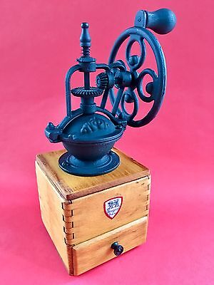 Vintage European French PEUGEOT FRERES Wood+Metal Fly Wheel Coffee Mill/Grinder