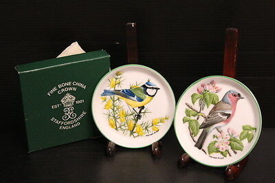 "Set of 2 Boxed Crown Staffordshire Fine Bone China Miniature Bird Plates 4"" D"