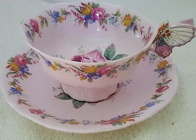 Extremley Rare Paragon Butterfly Handle And Roses Cup And Saucer