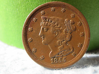 1855 Braided Hair Half Cent Better Date (1/2 C) XF/AU