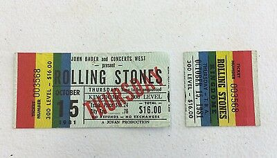 THE ROLLING STONES October 15 1981 Concert Tour Ticket Stub Seattle Kingdome