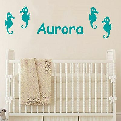 Sea Horses and Personalized Baby Name nursery vinyl wall decals