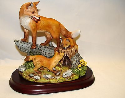 "7"" Andrea by Sadek Red Fox Family Hand Painted Handcrafted Figurine 1996"