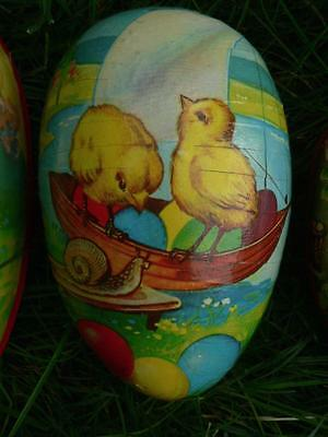 """Vintage 5"""" Paper Mache Easter Egg Chicks On Boat Snail Made In Western Germany"""