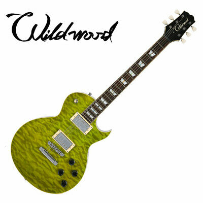 Wildwood WLP-QM Single Cutaway Green Quilted Maple Top Humbucker Electric Guitar
