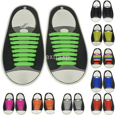 16 Pcs Easy Sneaker Elastic Lazy Shoe String Laces No Tie Shoelaces Silicone New