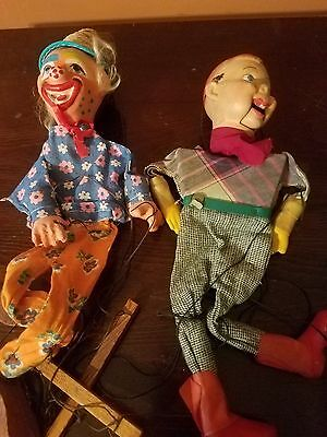Lot of 2 Vintage Howdy Doody Puppets_Marionette_1950s?_Clown_Tv Show
