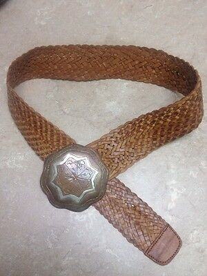 """Women's 36"""" Leather Thick Braided Belt Large Brass Buckle Western Chic Vintage"""