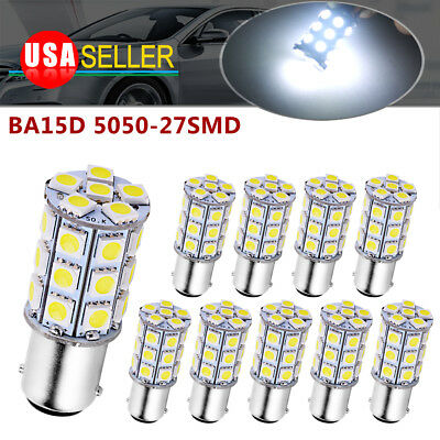 20x White BA15D 5050 27-LED Non-Polarity RV Boat Trailer Interior Light Bulbs