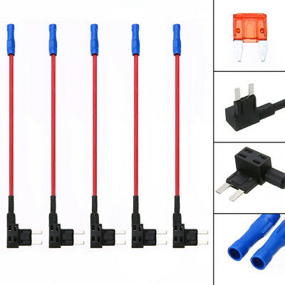 5pcs Add-A-Circuit Car ATM Mini Fuse Tap Dual Circuit Adapter Holder+10A Fuse